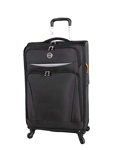 Lucas Luggage Lightweight 27 inch Large Softside Expandable Suitcase With Spinner Wheels (27in, Road Black)