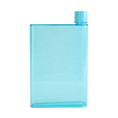 Juego de 2 botellas de agua planas, 420 ml, hervidor de agua de plástico, tamaño A5, reutilizables, delgadas, para actividades escolares al aire libre, gimnasio, ciclismo, senderismo (color azul)