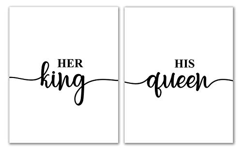"Her King His Queen Prints - 8"" x 10"" - Unframed, His And Her Prints, Marble Prints Wall Art, Bedroom Print, Home Decor, Wall Print, Home Print, Bedroom Prints, Marble Wall Prints"