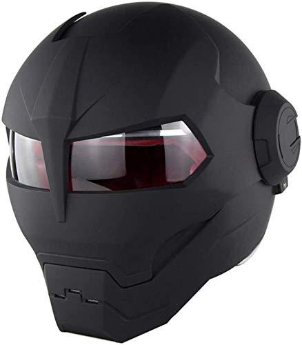 COOKTOP Motorrad-Integralhelm, DOT-Zulassung, Iron Man Transformers Harley-Flip-Helm Im Retro-Stil,Matte Black,M