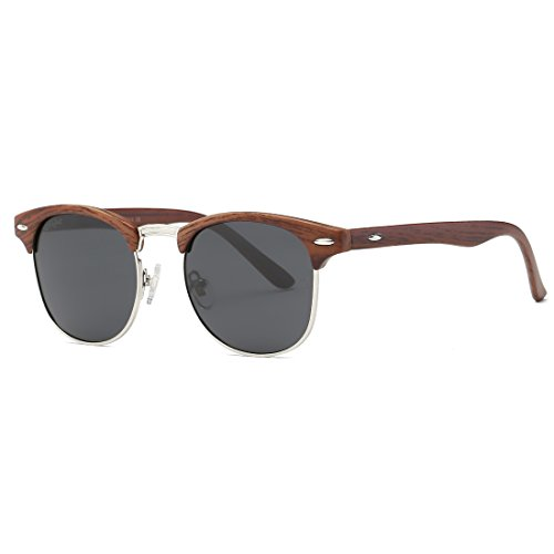 AEVOGUE Polarized Sunglasses Semi-Rimless Frame Brand Designer Classic AE0369 (Brown Woodgrain&Black, 48)