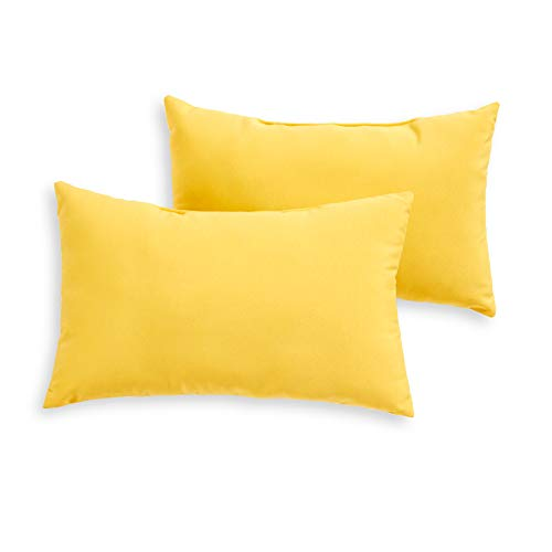 South Pine Porch AM5811S2-SUNBEAM Solid Sunbeam Yellow Outdoor 19 x 12-inch Rectangle Accent Pillow, Set of 2