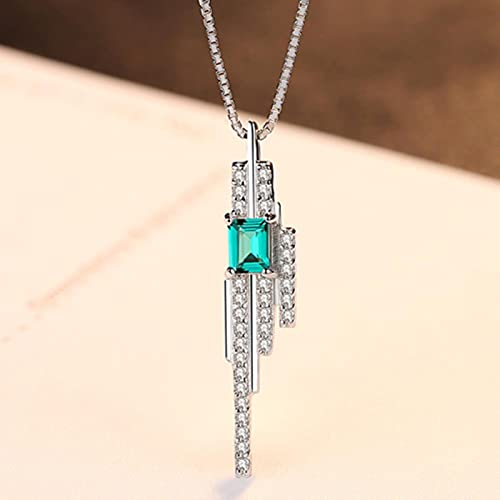 Mujeres Románticas Colgante Encantos Collar De Cadena Esmeralda Piedra Azul-Verde con Pequeño Cristal Cz Alrededor De Plata S925