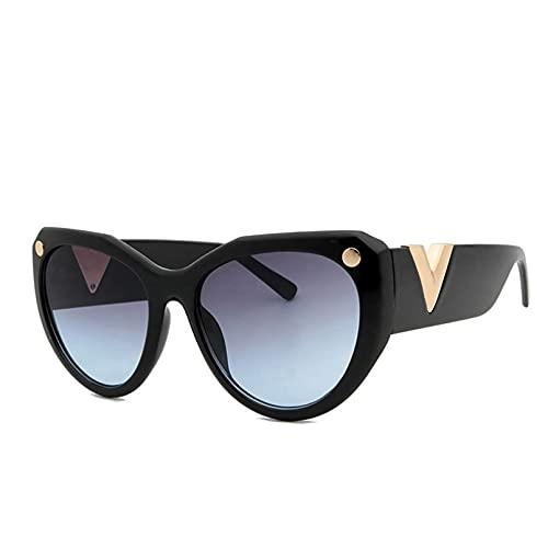 YTYASO Gafas de Sol con Forma de Ojo de Gato para Mujer, Gafas de Sol Redondas con decoración de Metal, para Hombre, Pantallas de Gran tamaño