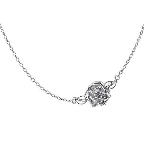 DAOCHONG S925 Sterling Silver Jewelry Sideways Camellia Flower Choker Necklace,14+4 inches