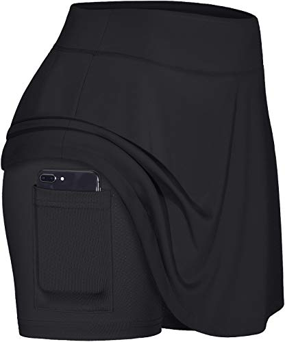Blevonh Pleated Skirt,Womens Plus Size Skirts Girls 2020 Fashion High Waist Sports Skort with Bike Shorts Ladies Solid Color Plain Swim Skirts for Women Workout Athletic Skorts Black 2XL