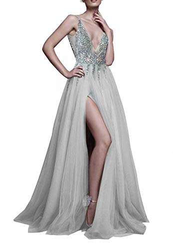 Gray Prom Dresses with Deep V Neck Sequins Tulle and Lace High Split Long Evening Dress Party Dresses Grey-US2 (Apparel)