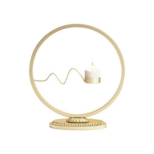 Rund Eisen Kerzenhalter, nordischer Stil Teelicht Heim Tabelle Kamin Hochzeit Urlaub-Ereignis-Party-Dekorationen (B - Gold)