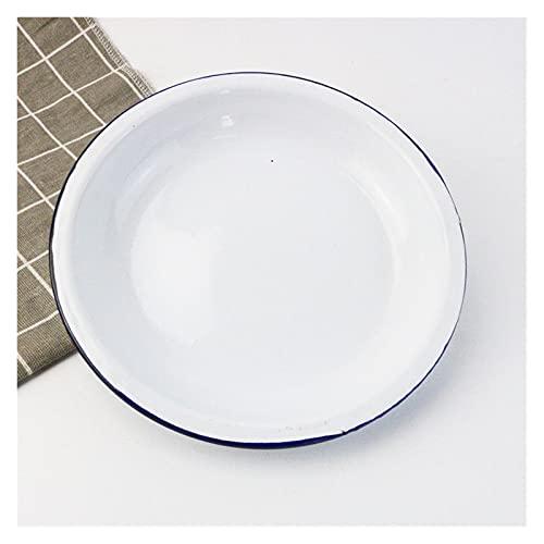 JSJJAHN Plato de cena con tecnología de esmalte, plato clásico impreso en frío, 20/22/24/26 cm, vajilla grande, bandeja de frutas de jardín, plato duradero (color: 19,5 cm, estilo 4)