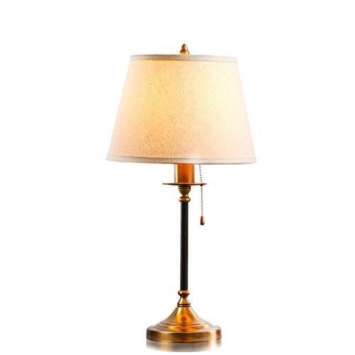Iluminación Lámpara de escritorio de hierro americano, pantalla de lámpara de lino redonda, lámpara de mesita de noche de estudio, E27 Mesilla Lamparas