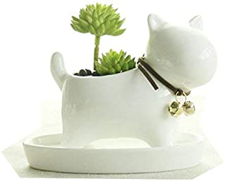 wish you have a nice day Little Dog White Ceramic Plant Flower Pots Home Office Decor Planter,Milky Cream White with Tray. (Dog NO.1)