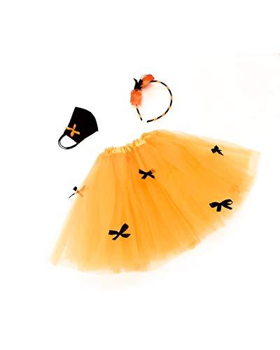 Costume Streghetta Carnevale Bambina-Completo per travestimento da Strega con gonna in tulle, Cerchietto per capelli e Mascherina protettiva in cotone 100% Made in Italy