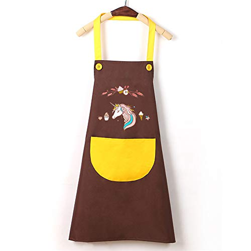 YXDZ Hogar Delantal De Cocina Impermeable Y Resistente Al Aceite Moda Japonesa Correas Femeninas Cocina Ropa De Trabajo Tienda De Postres Cafetería Colgante Cuello Cuello Café Color 68 * 70Cm