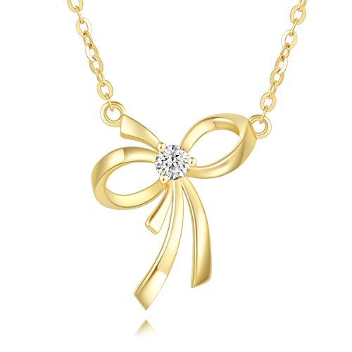 Agvana 14K Solid Yellow Gold Diamond Bow Knot Dainty Pendant Necklace Fine Jewelry Promise Anniversary Birthday Gifts for Women Teen Girls Lover Wife Mom Grandma Her Yourself, 16+2 Inches