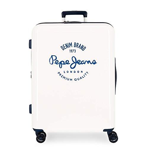Pepe Jeans Nolan Maleta Mediana Blanca 48x70x26 cms Rígida ABS Cierre TSA Integrado 81L 2 kgs 4 Ruedas Dobles