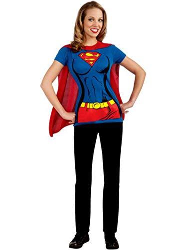 DC Comics Super-Girl T-Shirt With Cape, Blue, Medium Costume