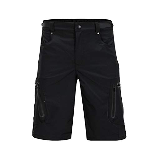 Cycling Shorts MTB Mens Cycling Shorts Water Repellent Baggy Loose Fit Cycle Shorts with Zip Pockets Bicycle Riding Pants (Color : Black, Size : XL)