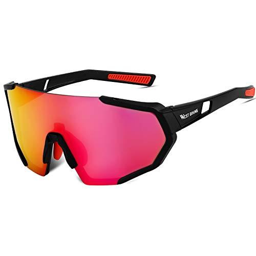 ICOCOPRO Polarisierte Sportbrille, UV 400-Schutzbrille, Fahrradbrille für Männer Frauen mit 3 Wechselobjektiven, Outdoor-Sportbrille zum Laufen Golf Angeln Wandern Baseball