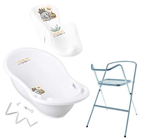Tega Baby ® Baby Badewanne mit Gestell und Verschiedene Sets mit Babybadewannen + Ständer + Abfluss + Badewannensitz 0-12 Monate | ergonomisch Neugeborene, Motiv:Elefant - weiß, Set:4 Set