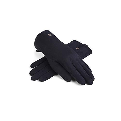 ZNXHNDSH HND de Las Mujeres Guantes de Invierno, además de Terciopelo Caliente Grueso Guantes de Ante la Pantalla táctil de Montar a Caballo de conducción Guantes Calientes (Color : Black)