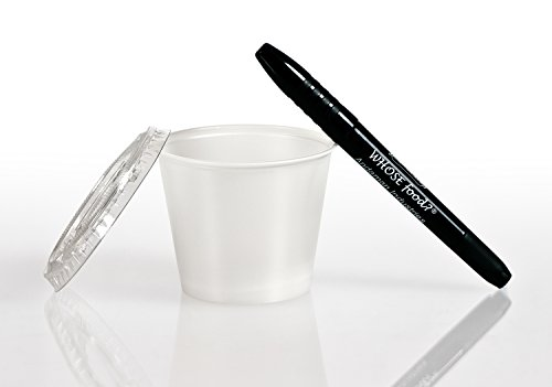 Solo 0.5 oz Portion Container & Lid (250ct) – Restaurant/Take-Out Style Clear Plastic Side Dish Cups - Bundled with WhoseFood? Pen – for Ketchup, Sauces, Samples, Portion Control, Jello Shots