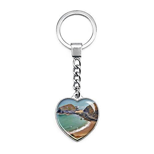 Schlüsselanhänger, Motiv: UK England Wales Cardigan Mwnt Strand, kreativer doppelseitiger Schlüsselanhänger in Herzform, Kristall, Reise-Souvenir, Metall