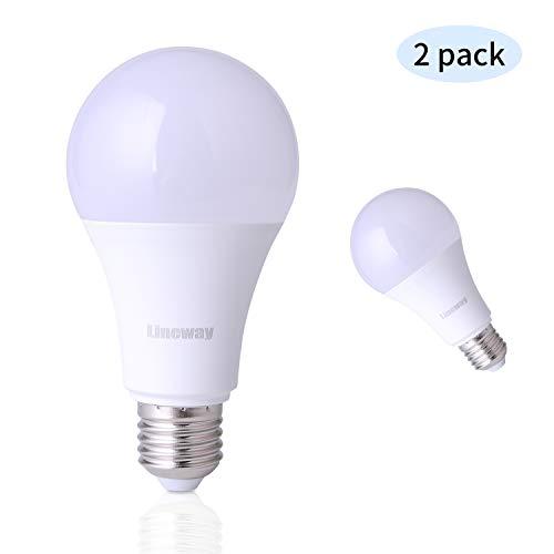 Lineway E27 LED Glühbirne mit Bewegungsmelder Smart Licht 12W 6000K ersetzt 60W Energiesparlampe Automatische Glühlampe für Innen Außen Treppen Haustür Garage Garten (2 Pack)