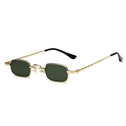 Gafas de Sol Retro Punk con Montura pequeña, Gafas de Sol cuadradas Transparentes de Metal (Oro + Verde)