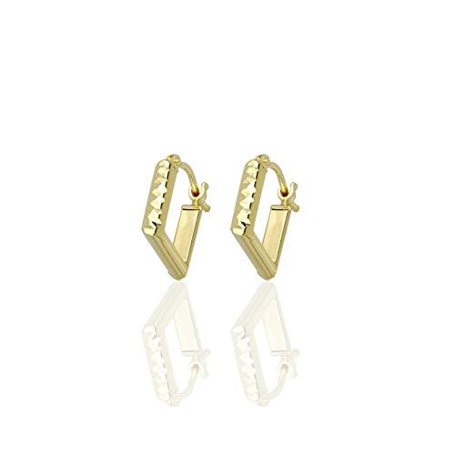 DelPia - Pendientes rectangulares de oro amarillo 750 con acabado diamantado, 10 x 9 mm   Pendientes de mujer de alta calidad   Certificado de garantía y autenticidad