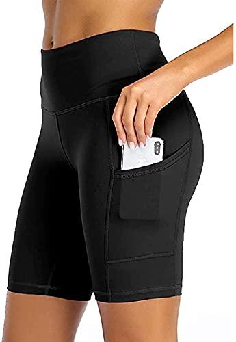 Pantaloncini Sportivi Donna Fitness da Corti Capri a Vita Alta Donna Allenamento Palestra Dance Fitness Leggings Pantaloni Capri Donna Sportivi Nero-M