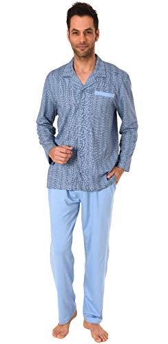 Eleganter Herren Pyjama Schlafanzug lang zum durchknöpfen - auch in Übergrössen bis Gr. 70, Größe2:56, Farbe:hellblau