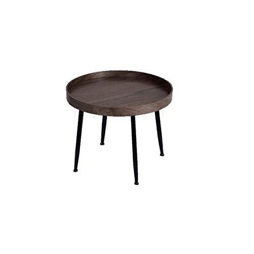ZXCVBNM Mesa de centro para cama móvil, mesa de café nórdica, redonda y simple, mesa auxiliar creativa de madera de nogal negro, mesa de café de madera maciza, sala de estar pequeña A (color: azul)
