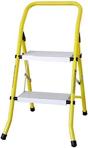 GUOXY Multifunktions-Herringbone Leiter 2 Stufen - Tragbare Folding Stufenleiter Mit Armlehnen, Leichtstahl-Fuß-Leiter, Anti-Rutsch-Sicherheits Pedal