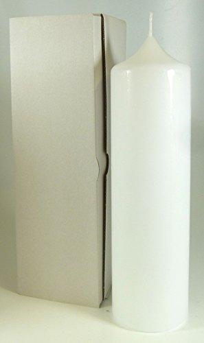 Stumpenkerze weiss 25 x 8 cm, mit Karton zur Aufbewahrung - 4802 - Kerzenrohling 250x80 mm zum Basteln und Verzieren