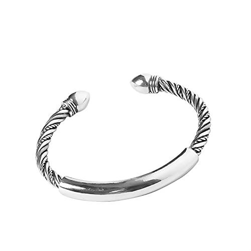 Wh1t3zZ1 Pulsera Mujer 925 Sterling Silver Twist Brillante, Pulsera Sólida Mujeres Apertura Simple Futways Fashion Jewelry Accesorios Regalo