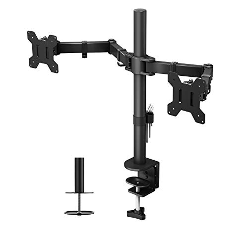 BONTEC Dual Monitor Stand for 13-27 inch LCD LED PC Screens, Ergonomic Double Monitor Mount Stands for Desks, Height Adjustable Dual Monitor Arm Bracket Tilt 90° Swivel 180° Rotate 360°, VESA 75/100