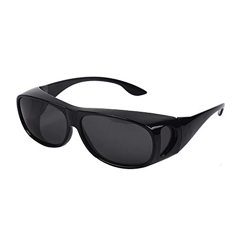 HD Night Day Driving Wrap Around Anti Glare Sunglasses with Polarized Lens for Man and Women (Black Lens+ Bright black Frame)