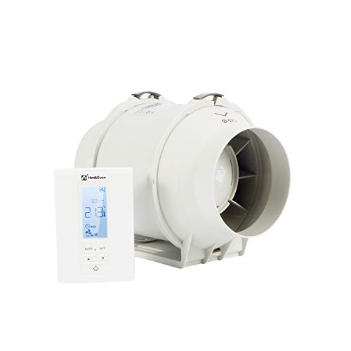 Hon&Guan ø125mm Baño Ventilador con Temporizador, Humidistato - Extractor de Aire con Controlador Inteligente y Soporte de Tres Velocidades (ø125mm)
