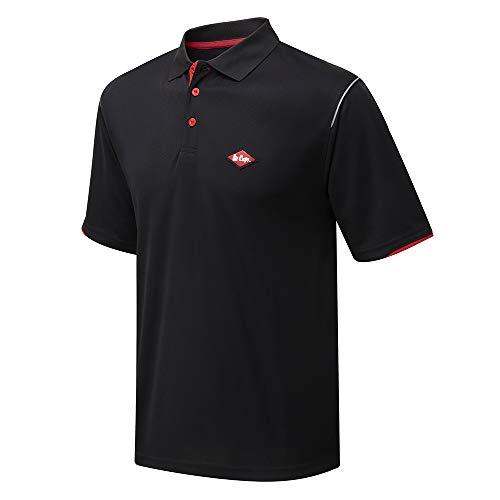 Lee Cooper LCTS017 Arbeitskleidung Herren Arbeitssicherheit Leistung Breathable Polo-Shirt Arbeits Top, schwarz, groß
