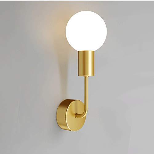 Aplique de Pared Modern Wall Light Globe Lámpara Lámpara de Lámpara de Latón Sconence, Luces montadas en la pared Nórdica Soporte de cobre Lámparas de pared simples para sala de estar Dormitorio de no