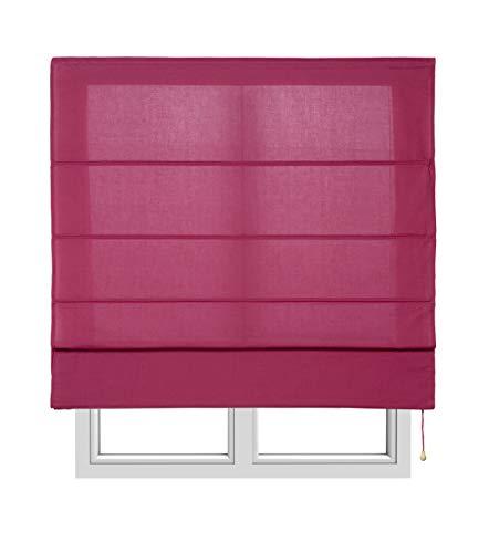 Estores Basic, Stor plegable con varillas, Vino, 90x175cm, estores para ventana, estores plegables.