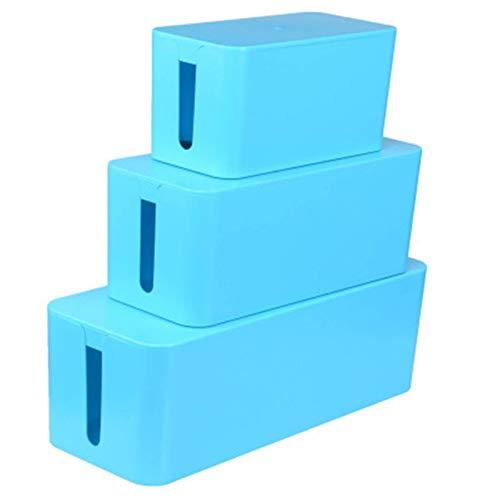 DealMux Cable Neat Box Plastic Rower Strip Hub Box Enrutador Caja de acabado Enchufe Caja de cables Organice los cables (Color: Azul, Tamaño: 23.5x11.5x12.7cm)