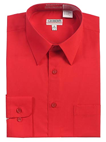 Gioberti Men's Long Sleeve Solid Dress Shirt, Red, X Large, Sleeve 35-36