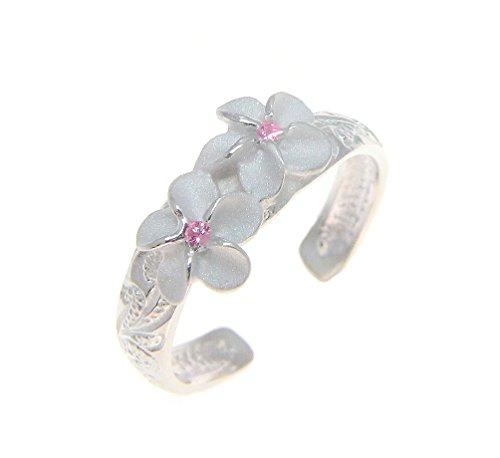Arthur's Jewelry 925 Sterling Silver Hawaiian 2 Plumeria Flower Scroll Pink cz Toe Ring