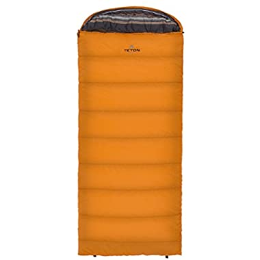 Teton Sports Celsius Regular -18C/0F Sleeping Bag; 0 Degree Sleeping Bag Great for Cold Weather Camping; Lightweight Sleeping Bag; Hiking, Camping; Orange, Right Zip