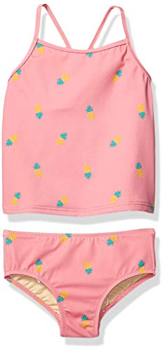 Amazon Essentials Girl's 2-Piece Tankini Set, Pink Pineapple, X-Large