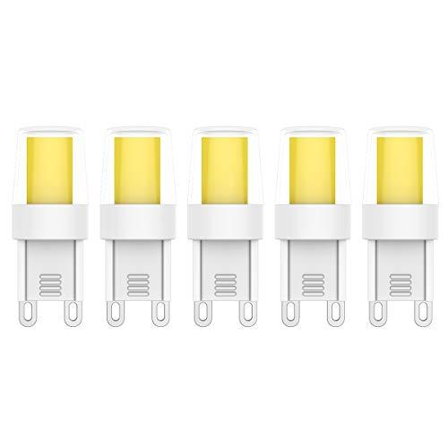 5X G9 LED Leuchtmittel 3W LED Lampen 0920 COB LED Kaltweiß 6000K,250LM Energiesparende LED Birne AC 220V