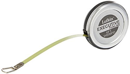 Lufkin W606PD Cinta Métrica Executive Diameter de Bolsillo, 6' x 1/4' para Medir Diámetros en Pulgadas, con Carcasa Cromada