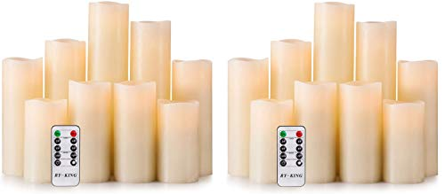 RY King Battery Operated Flameless Candles 4' 5' 6' 7' 8' 9' Set of 9 Real Wax Pillar LED Flickering Candles with Remote Control and Timer (2-Pack)