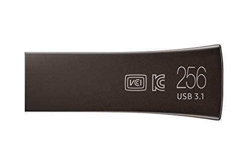 Samsung Memorie Bar Plus USB Flash Drive, USB 3.1, Type-A, Velocità di Lettura Fino a 400 MB/s, 256 GB, Grigio Titanio (MUF-256BE4)